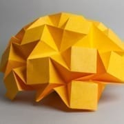 Paper folded in abstract form